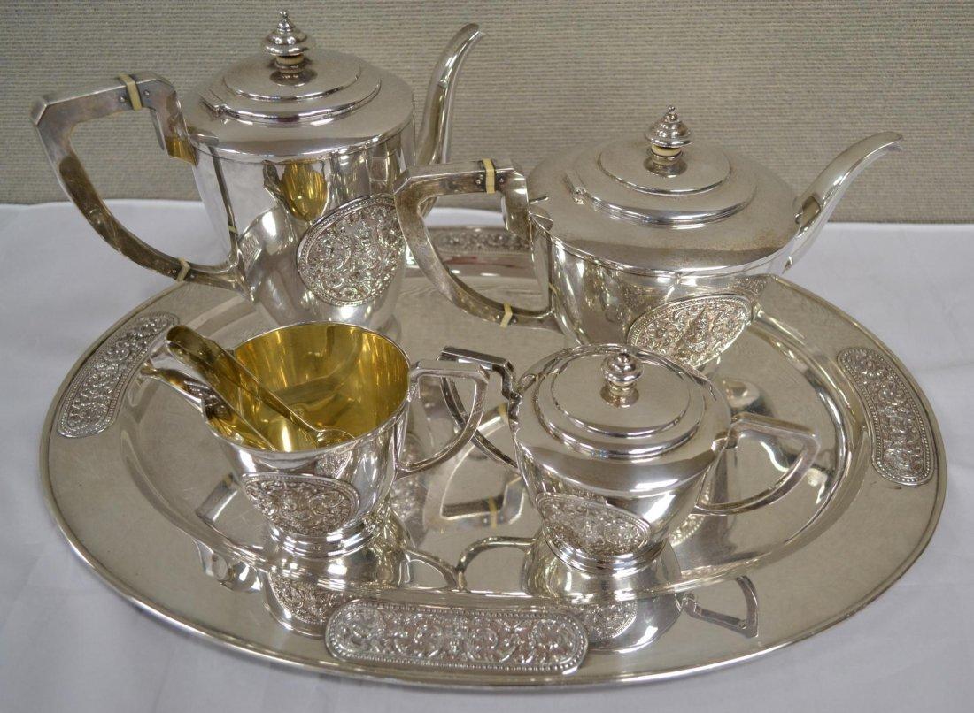 330: Sterling Silver Presentation Coffee/Tea Service - 8