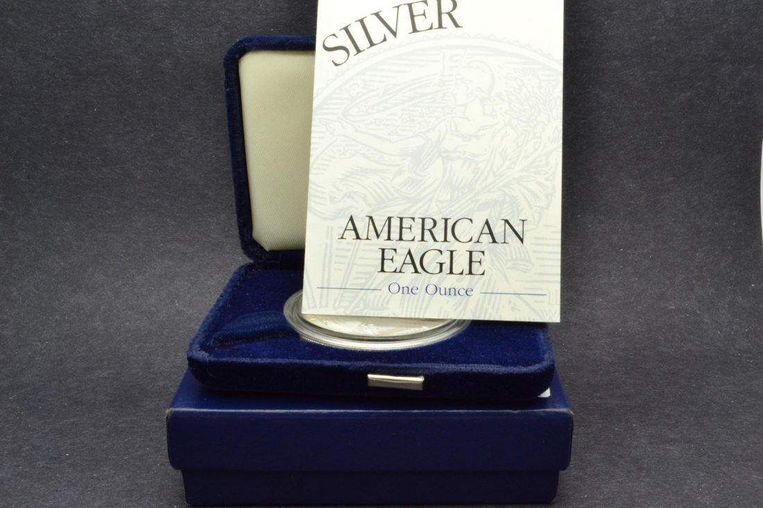 421S: 2001 $1 Silver American Eagle With Box & Papers P