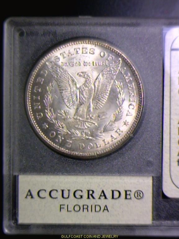 963: 1878 7/8 Morgan Silver Dollar Accugrade A3-65 - 2