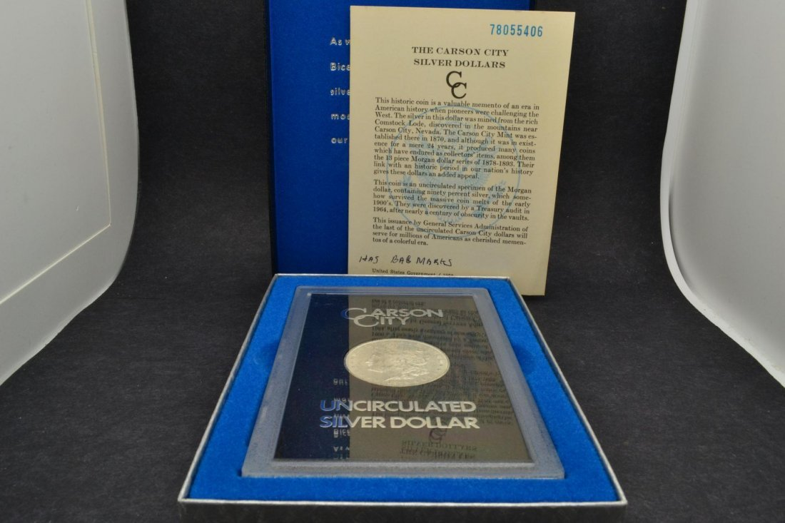 1374: 1878-CC Morgan Silver Dollar GSA with Box & Paper