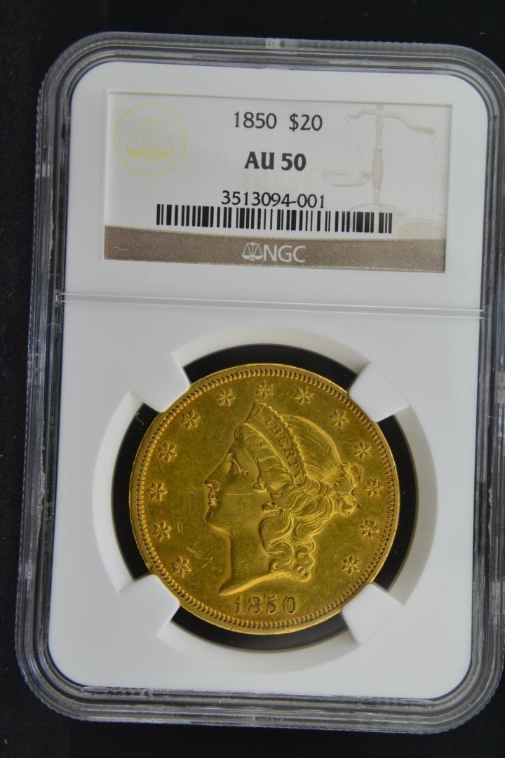 3075: 1850 $20 Liberty NGC AU50
