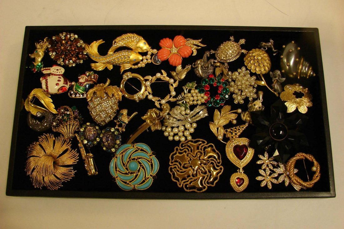 2: Vintage Lot Costume Jewelry - Pins, many signed