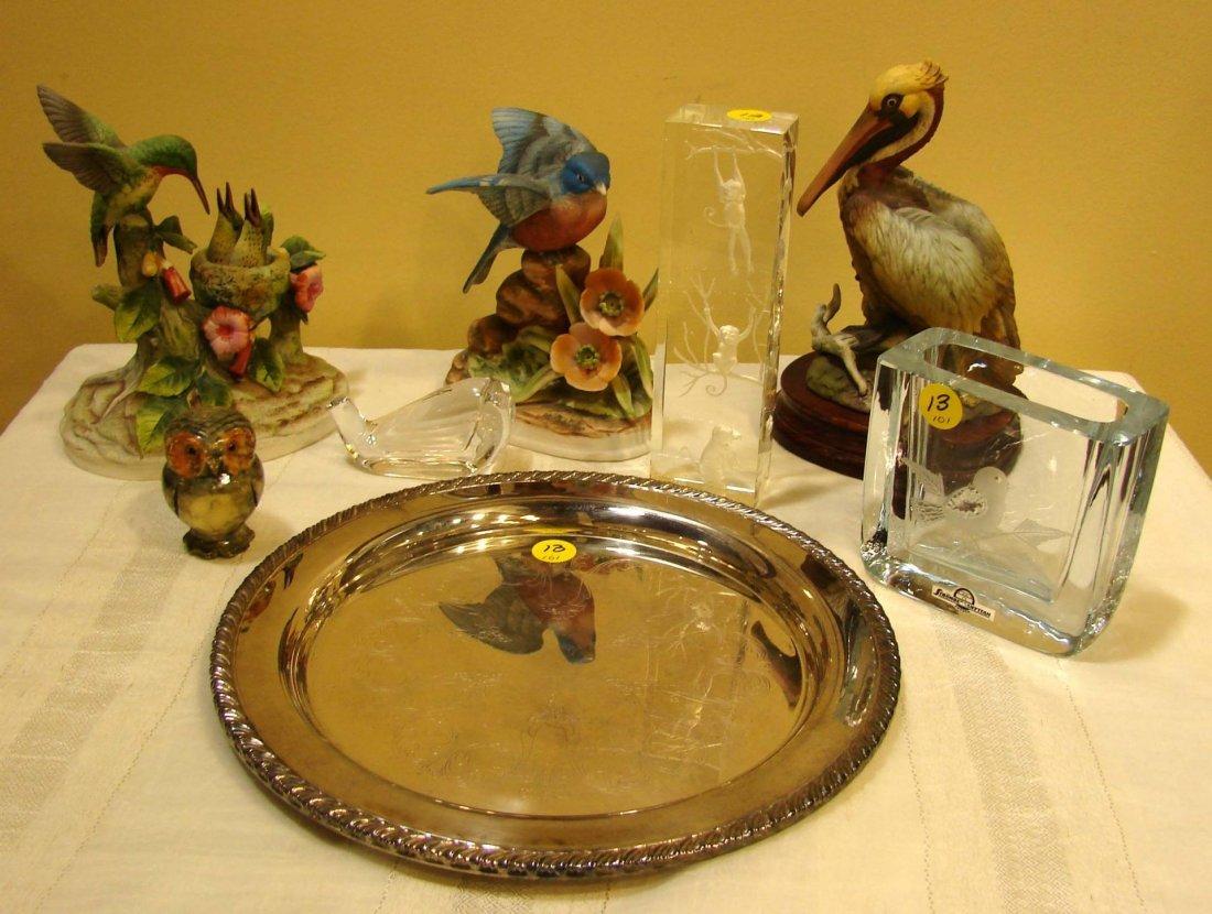 13: Lot:: Porcelain Birds, Crystal Vase, Paperweight