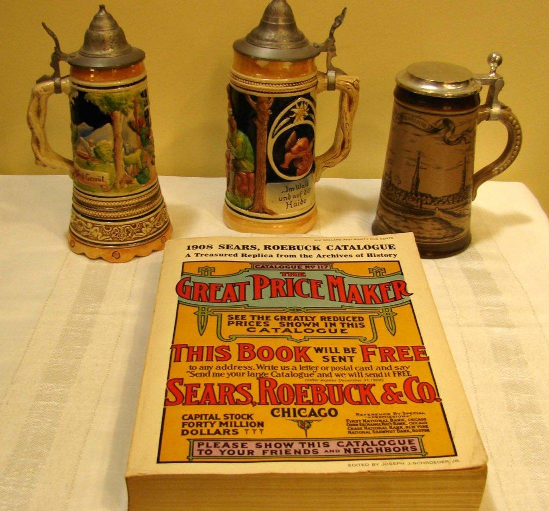 21: 3 German Beer Steins, Repro. 1908 Sears Catalog