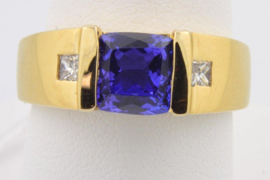 22A: 14k yg  SYN Tanzanite & Diamond Ring
