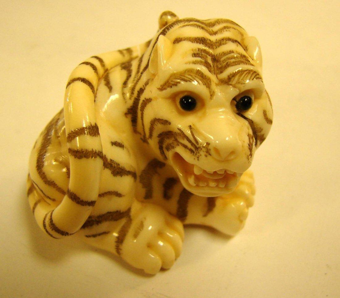 151: Signed Japanese Ivory Netsuke Crouching Tiger
