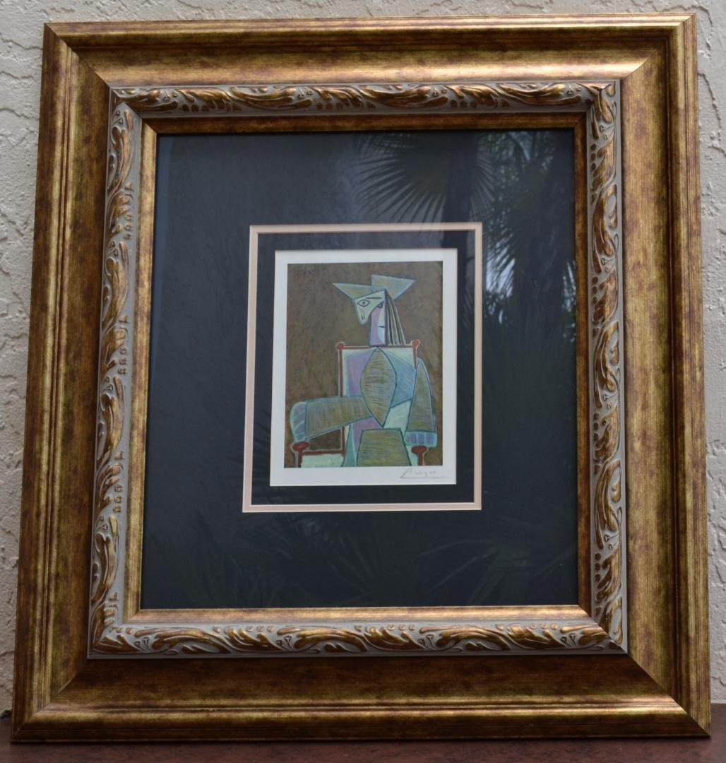 """214: Picasso """"The Artist"""" Hand Signed - Ornate Frame"""