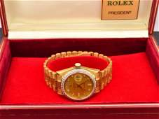278: 18k yg Mans Rolex Diamond Dial President