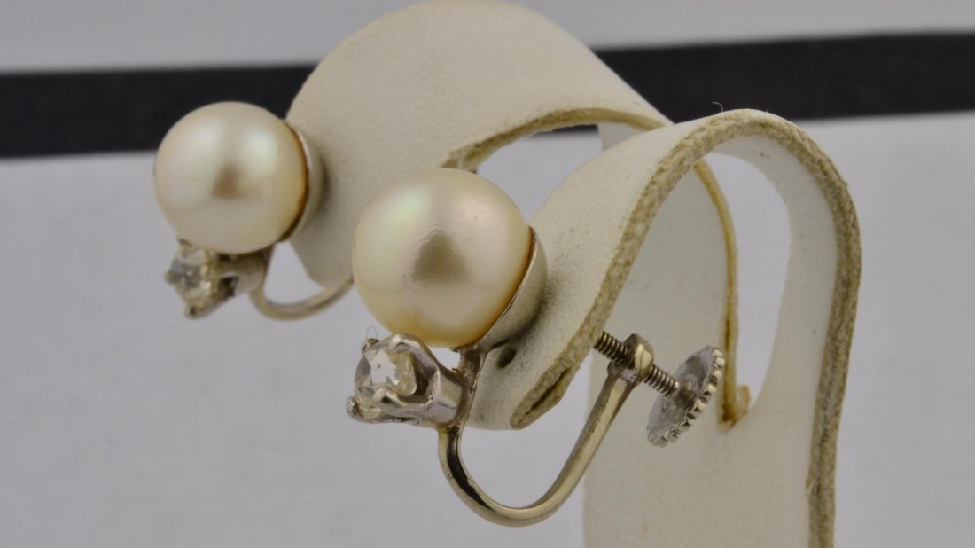 9: 14k wg Pearl & Diamond Earrings