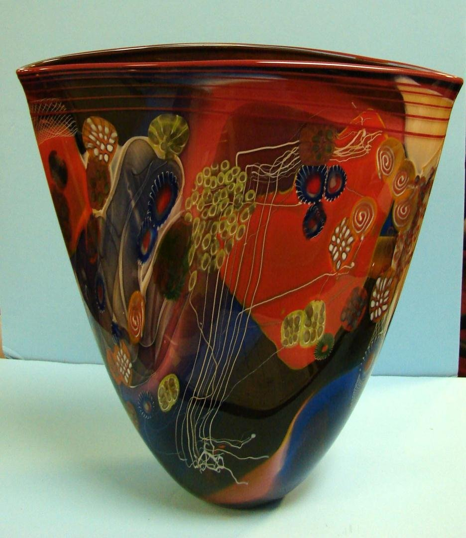113: Wes Hunting Orange & Cobalt Color Field Flat Vase