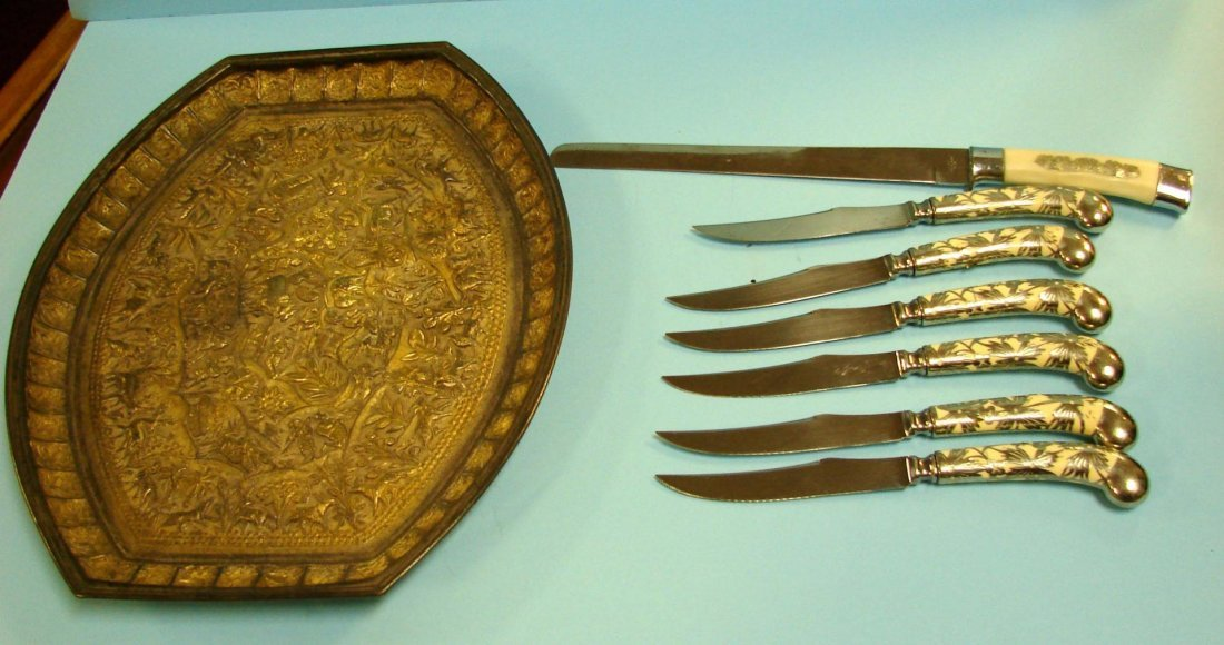 10A: Chase Steak Knife Set, Carving Knife, Silver Tray
