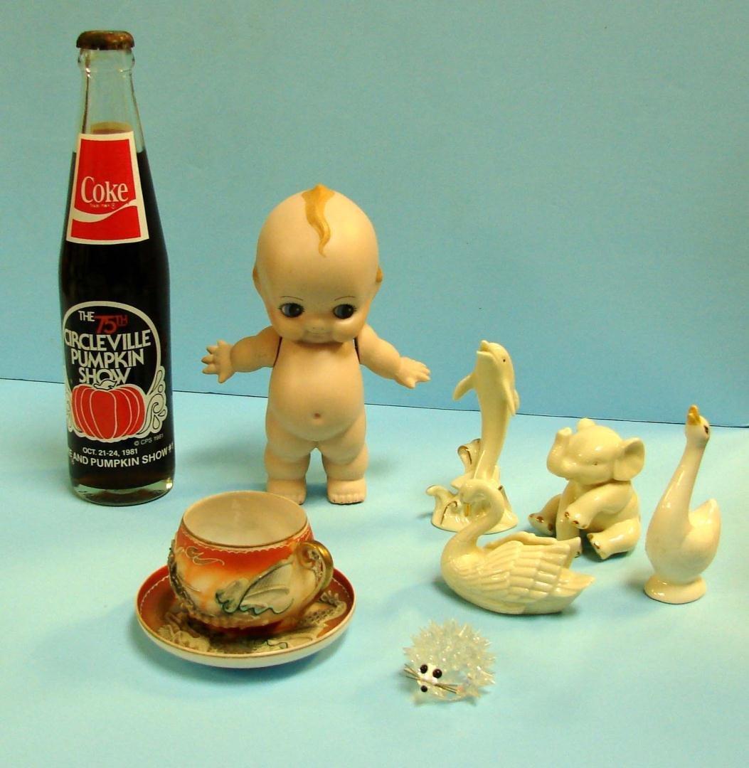 14A: Vintage Lot: Kewpie, Lithophane, Swarovski, Lenox