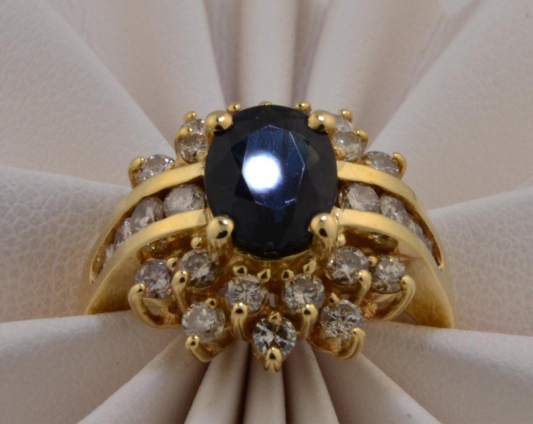 7: 14k yg  Ladies Sapphire & Diamond Ring