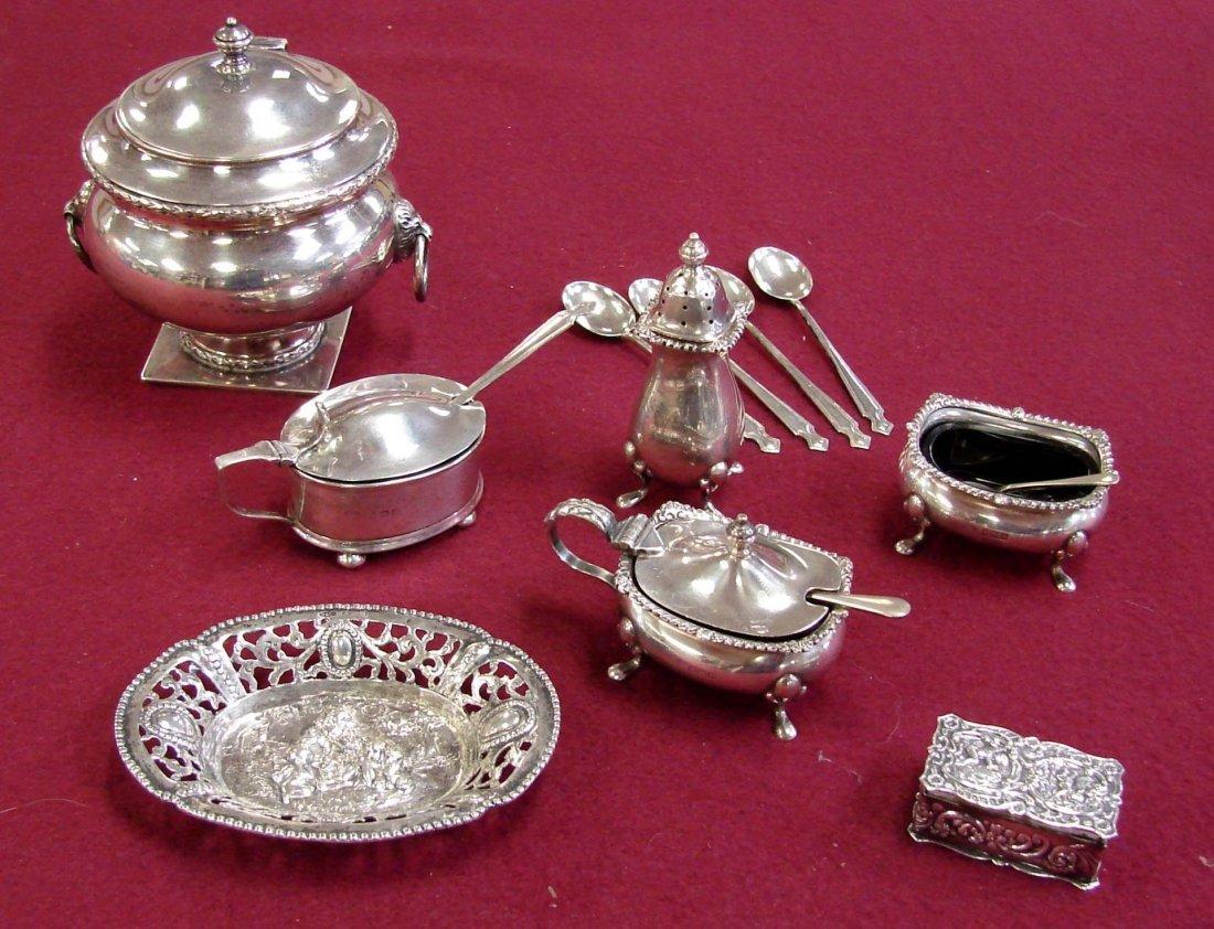 9: Vintage English Hallmarked Silver Salt Cellars ++