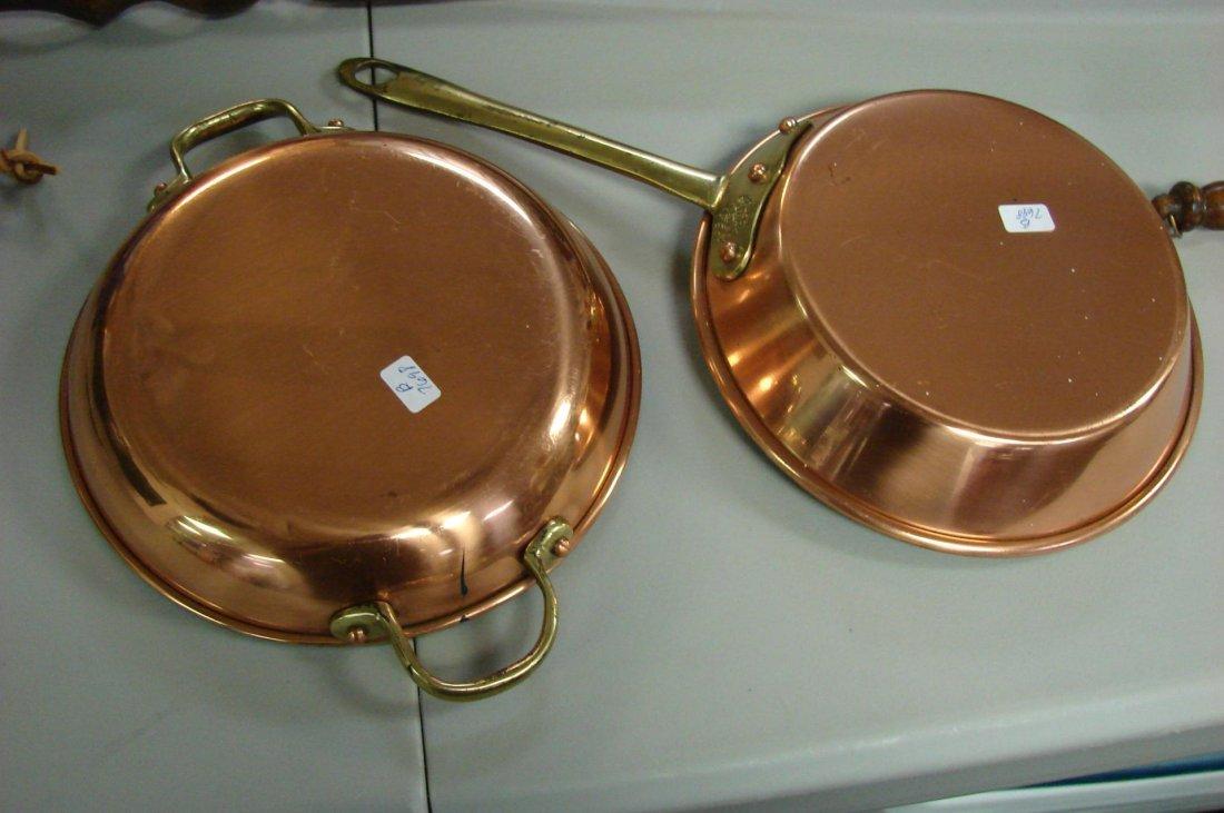 70: Vintage Copper Lot Bed Warmer, pans, slotted ladle - 2