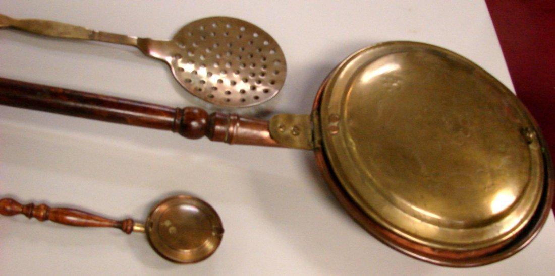 70: Vintage Copper Lot Bed Warmer, pans, slotted ladle - 3