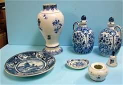 72: Vintage Delft: 2 jugs, vase, plate, pin dish, etc.