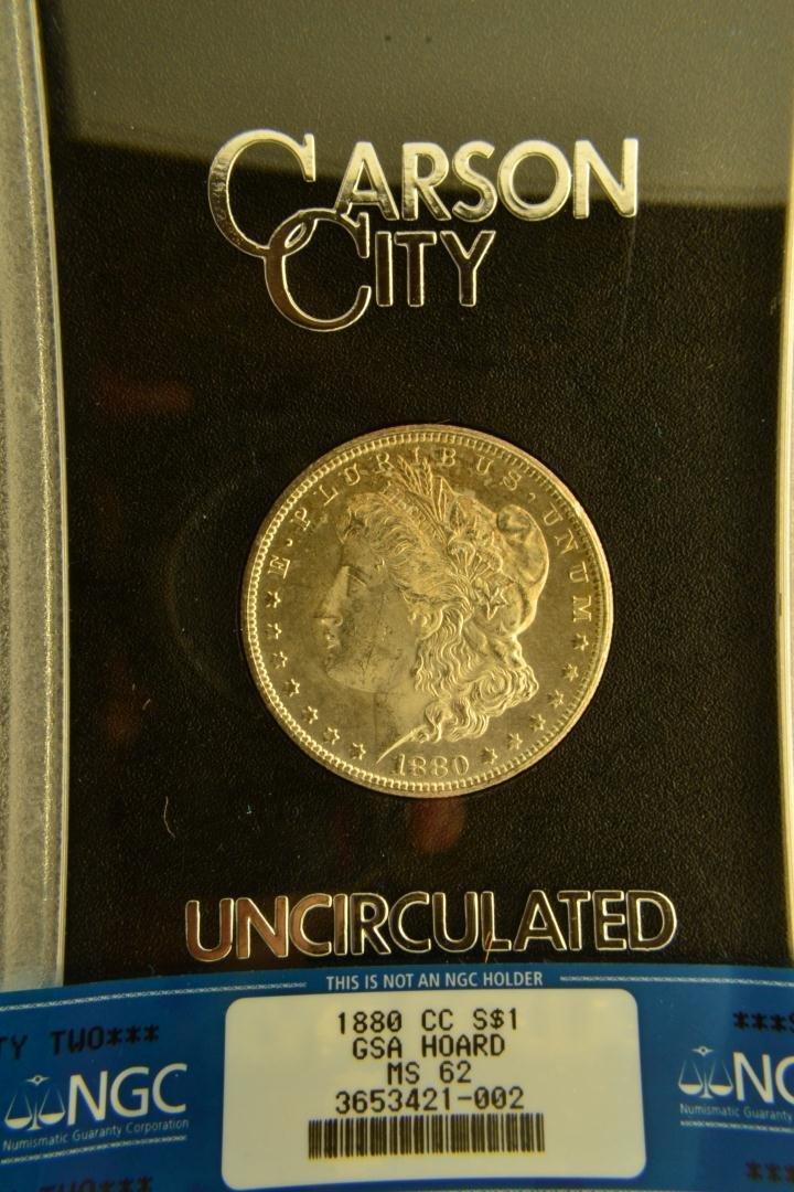 960K: 1880-CC $1 Morgan Silver Dollar GSA NGC MS 62