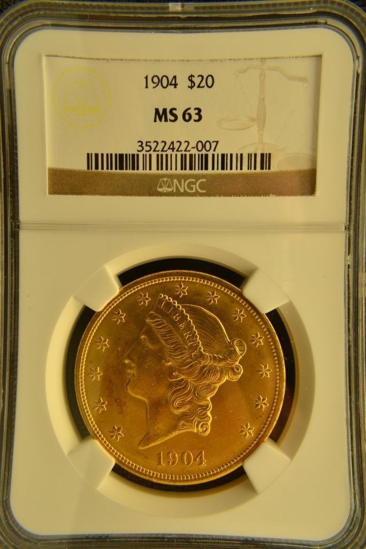 1333: 1904 $20 Liberty NGC MS63