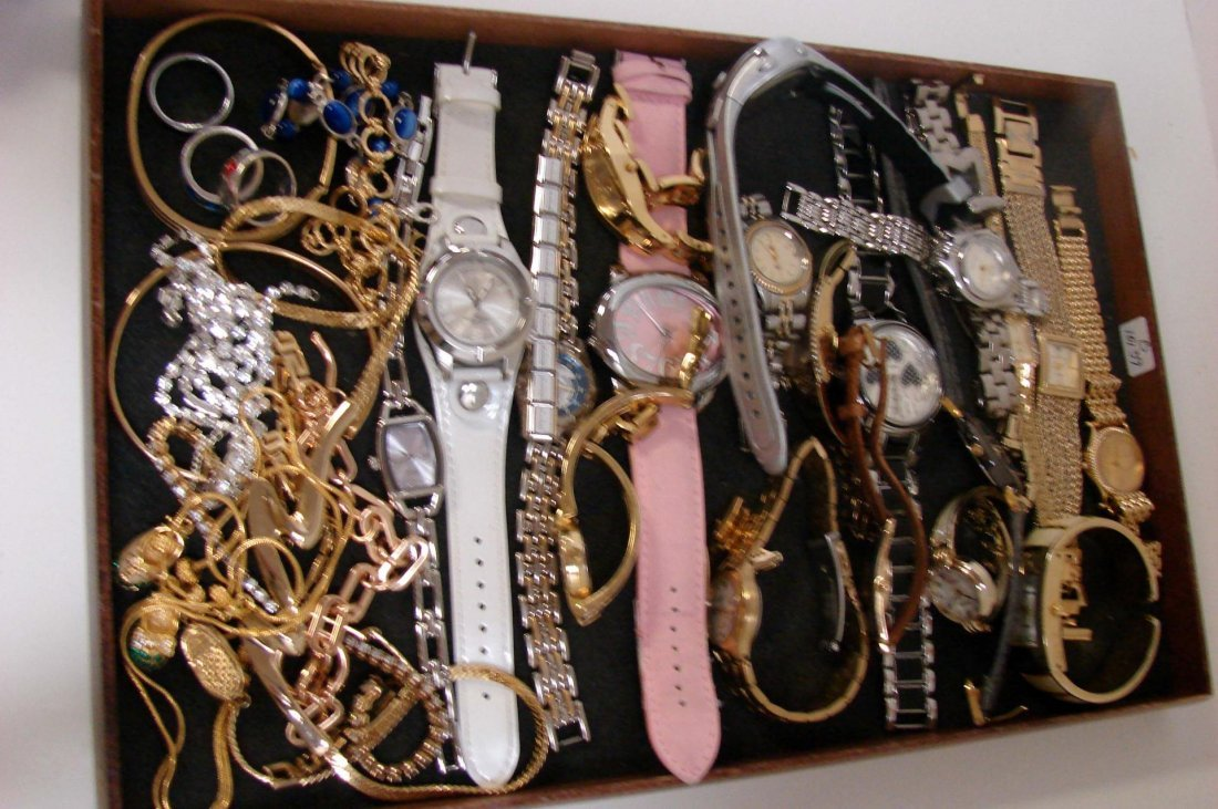 2: Lot of vintage costume jewelry, many watches