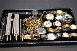 1: Lot of vintage watches, cuff links & pens