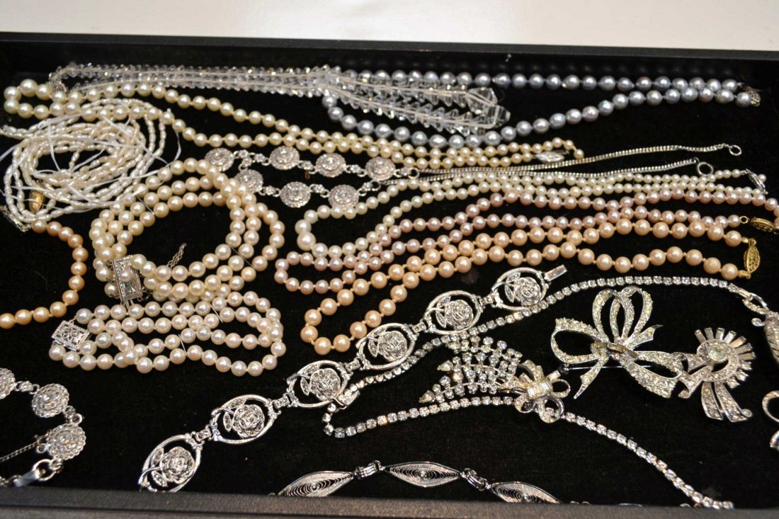 3: Lot of rhinestone, pearl, and crystal jewelry