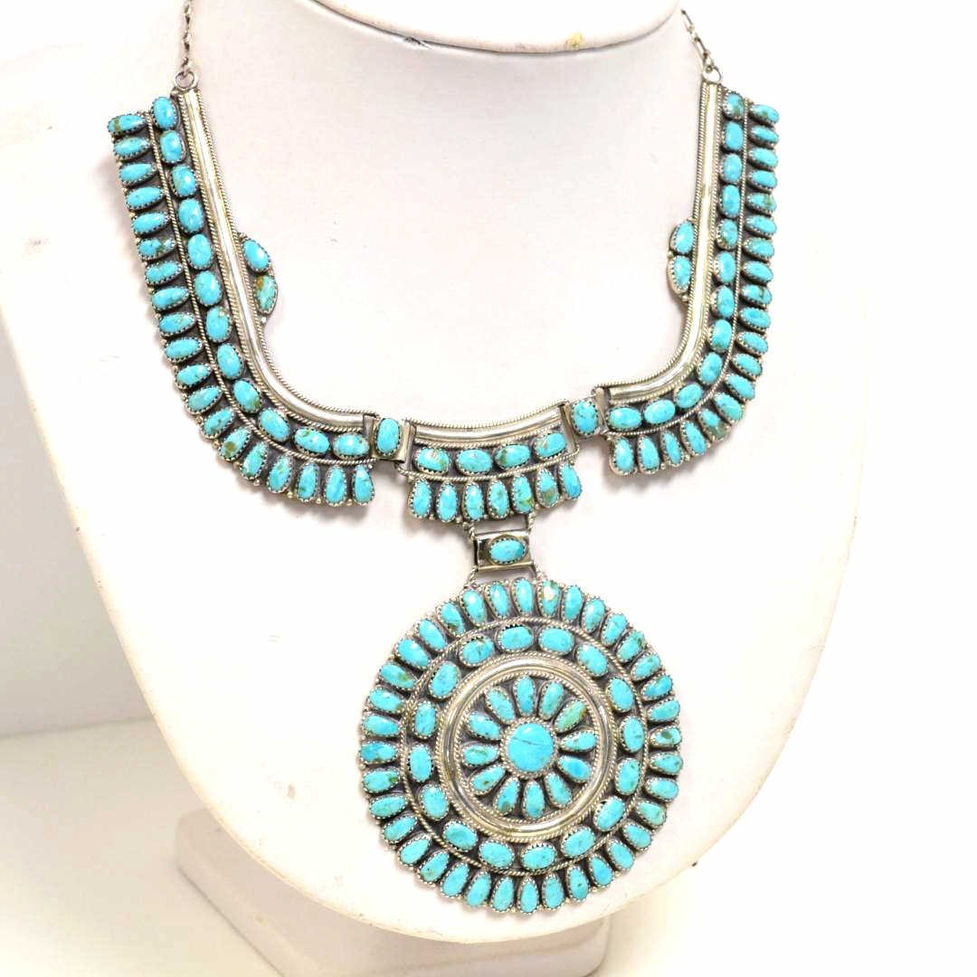 8: American Indian sterling & turquoise necklace