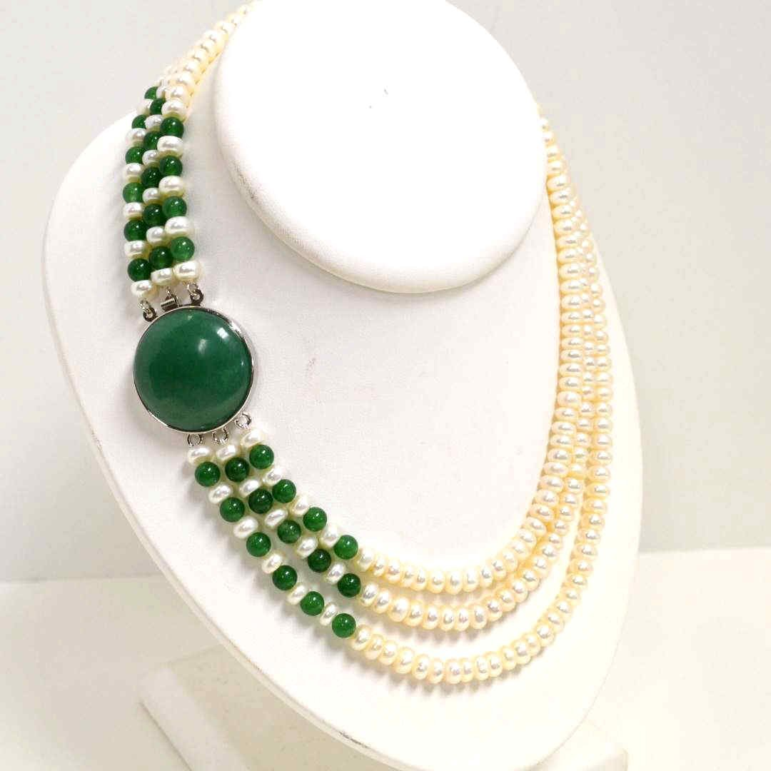 9: 3 strand freshwater pearl & jade necklace