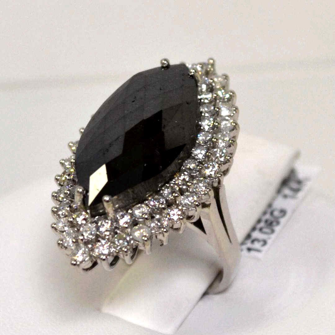 226: 12ct marquise shaped black diamond ring - 2