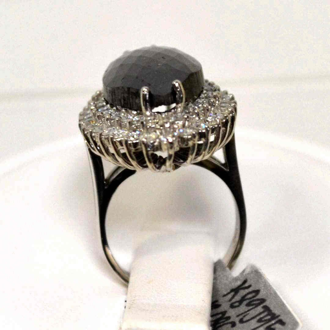 226: 12ct marquise shaped black diamond ring - 3