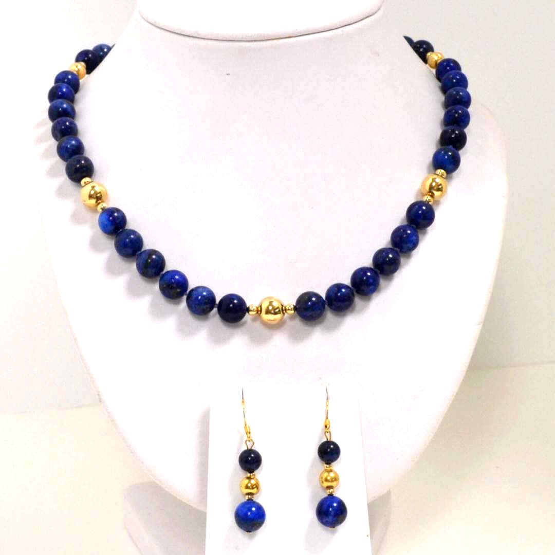 "15A: 24"" Lapis Bead Necklace & Earrings"