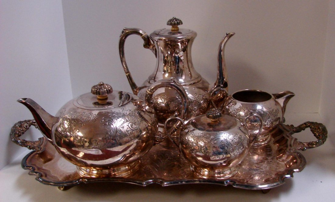 16: Antique Cooper Bros. Silver Plate Coffee & Tea Set