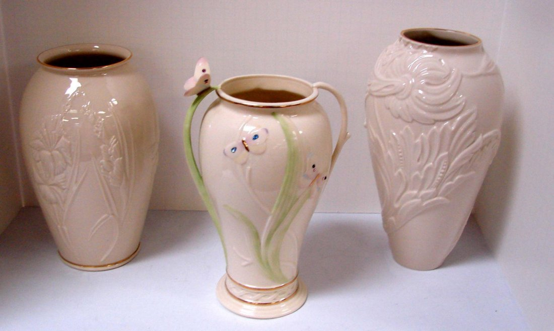 8: 3 Lenox Cream Vases, one with butterflies