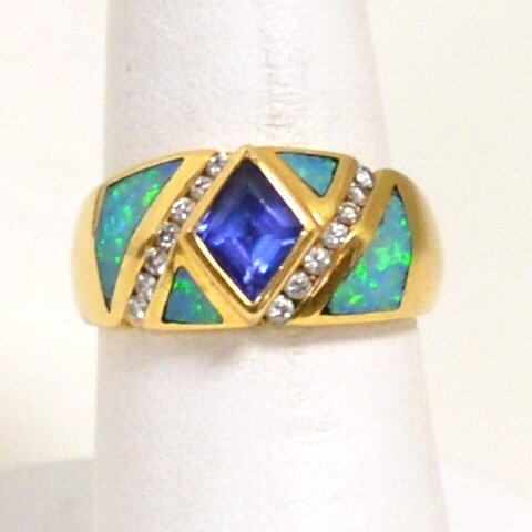 76: 14kyg Opal, Tanzanite & Diamond Ring by Kabana