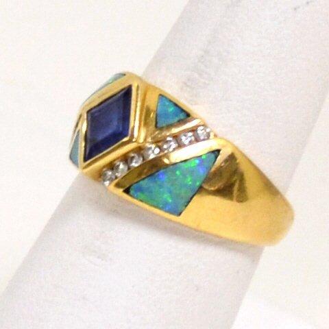 76: 14kyg Opal, Tanzanite & Diamond Ring by Kabana - 2