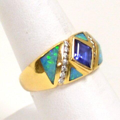 76: 14kyg Opal, Tanzanite & Diamond Ring by Kabana - 3