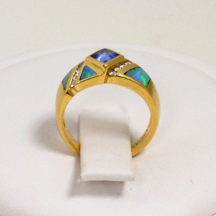 76: 14kyg Opal, Tanzanite & Diamond Ring by Kabana - 4