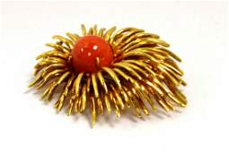 109 Red Coral Brooch in 18kyg By Tiffany  Co