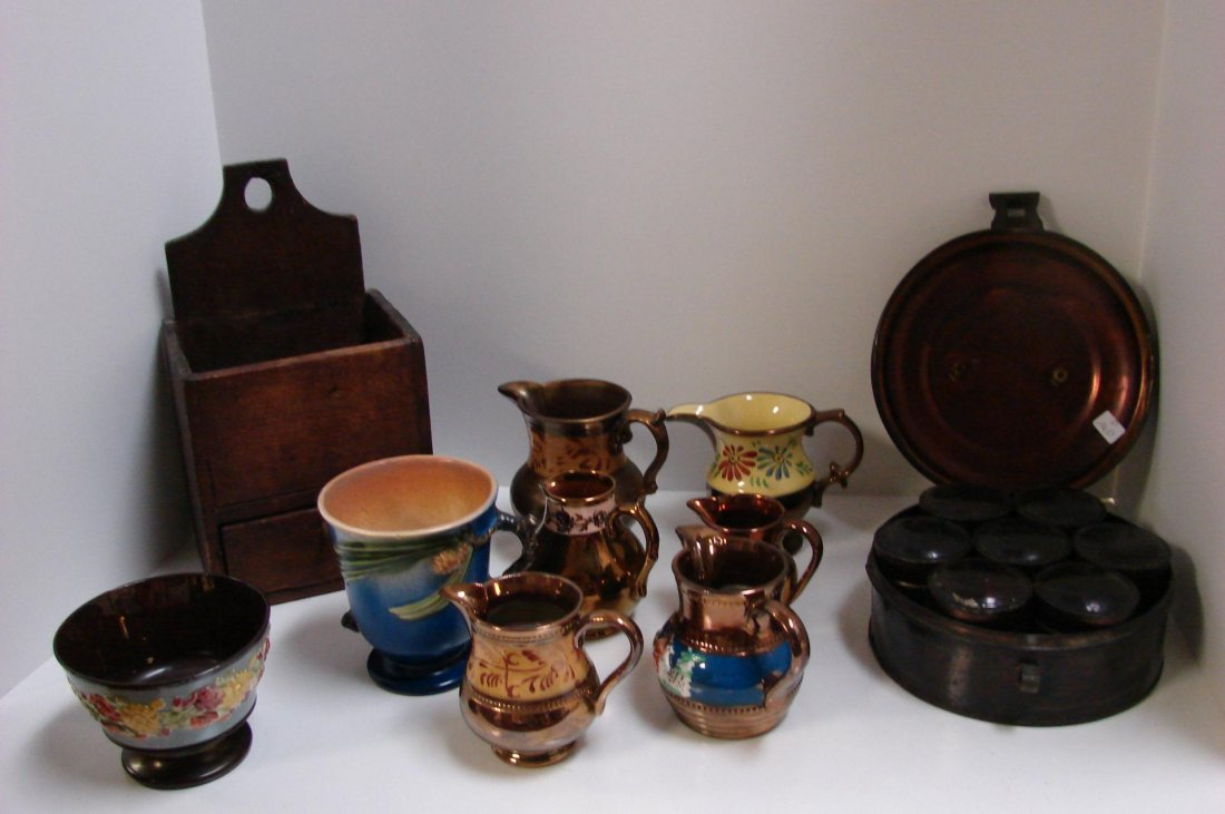 12: Antique Lot: Spice Tin, Wood Box, Lustreware Pitch
