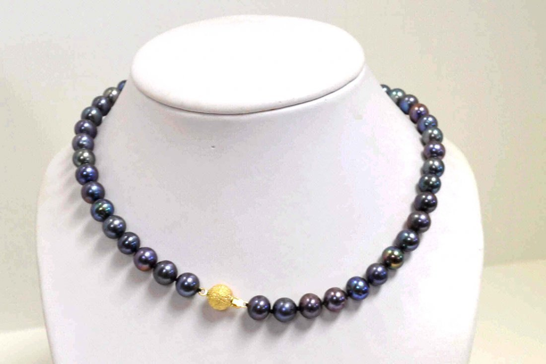 "16: 24"" Peacock Color Freshwater Pearl Necklace"