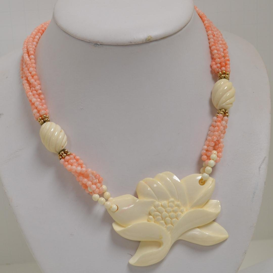 "9A: 30"" Strand Angel Skin Coral with Ivory"