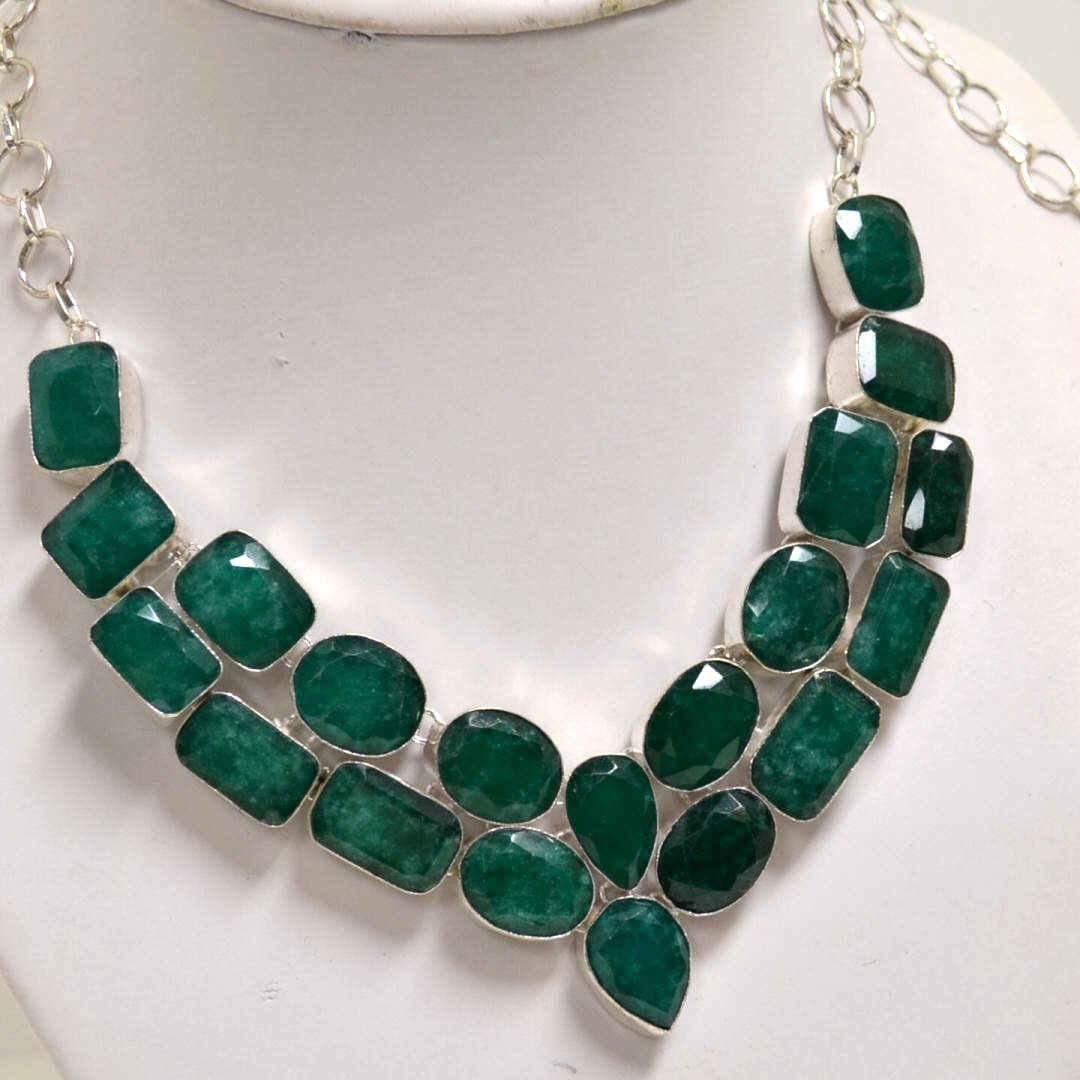 7A: Sterling Necklace with Natural Emerald
