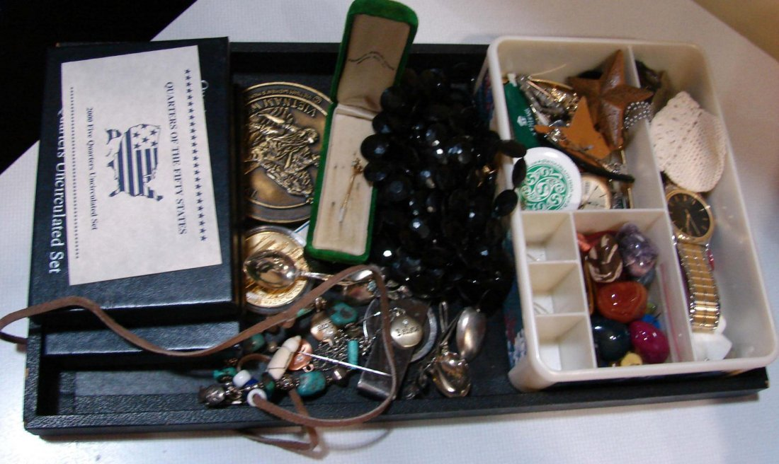 5: Lot of Costume Jewelry, State Quarters, etc.