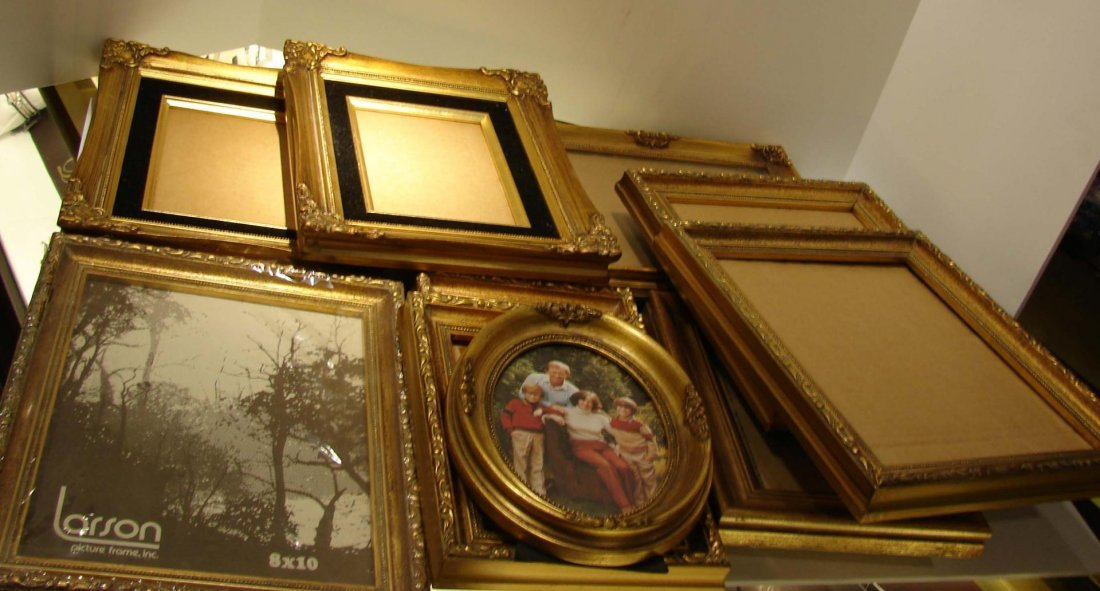 14: Box of 16 Gold Picture Frames - never used