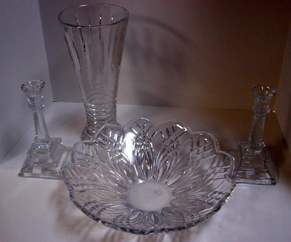 10: Bohemian Crystal Bowl, Vase, Pair of Candlesticks