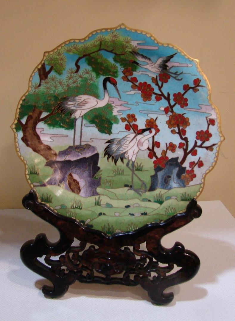 14: Cloisonne Plate Decorated w/Cranes