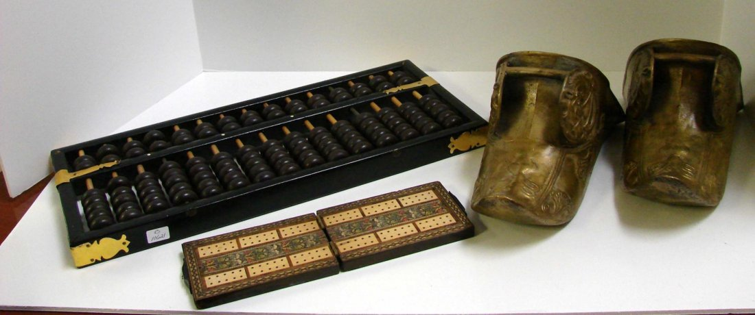 13: Chinese Abacus & a Pair of Brass Stirrup Shoes