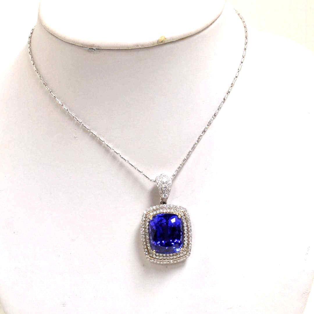 18A: 14kyg Tanzanite & Diamond Necklace 42ct