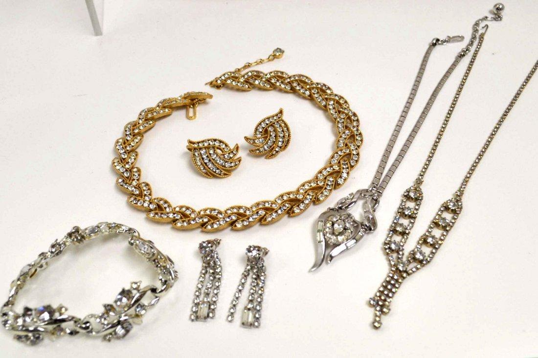 15A: Trifari Necklace & Earrings & Rhinestone Jewelry