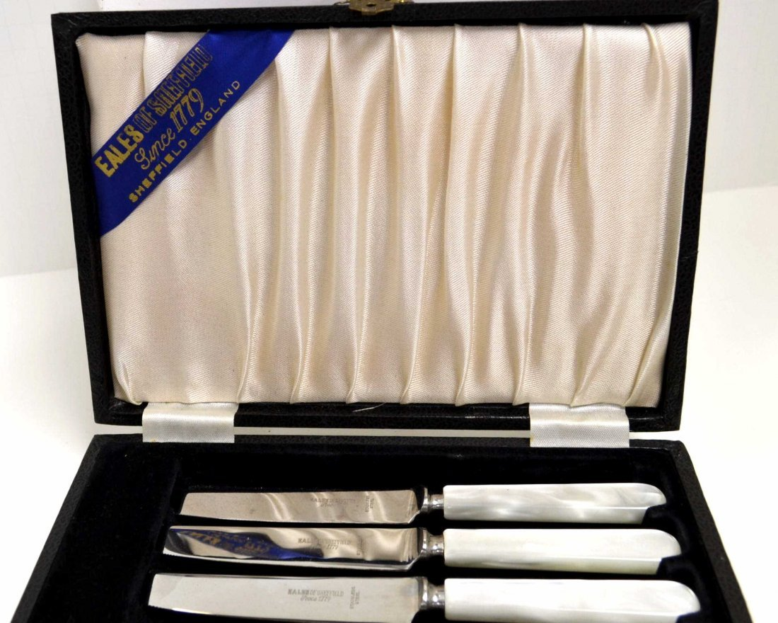 327: 6 Sheffield Steak Knives - Mother of Pearl Handle - 2